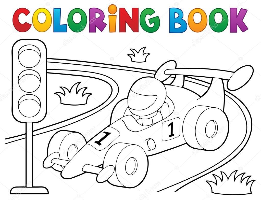 Libro para colorear tema 1 de coche de carreras — Vector de stock ...