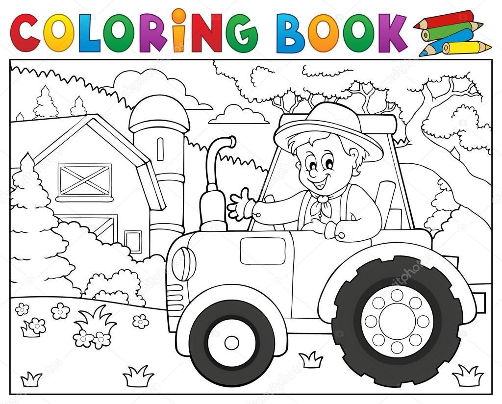 kleurplaat trekker het boek in de buurt boerderij