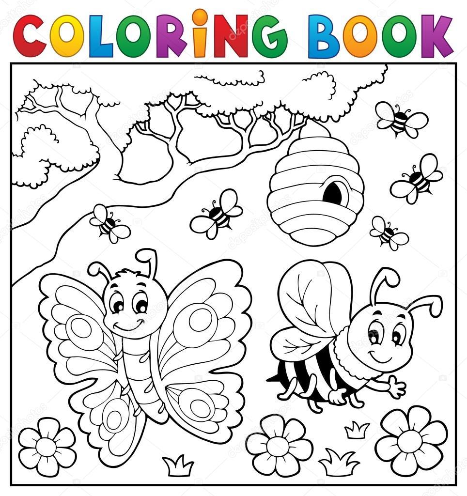 Kelebek Ve Arı Ile Boyama Kitabı Stok Vektör Clairev 99638518