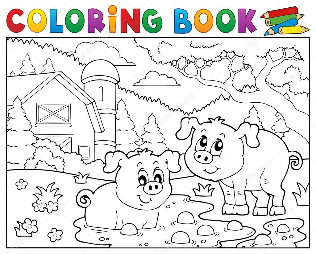 Para colorear cerdos libro dos cerca de granja — Archivo Imágenes ...