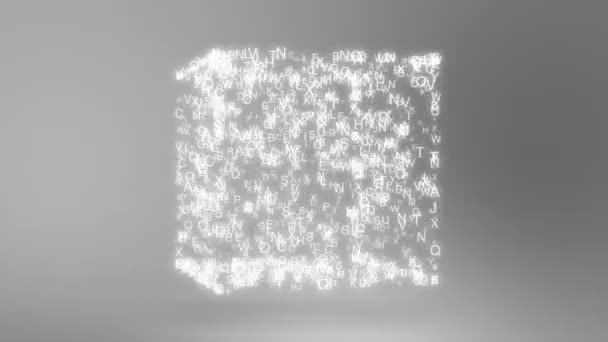 Abstract composition from chaotic moving letters are placed in a shape and cast a shadow 4K