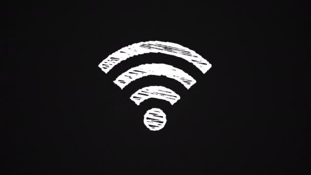 Symbol, das sich mit Wi-Fi-Punkt mit Kreide bemalt, handgezeichnete Animation 4k