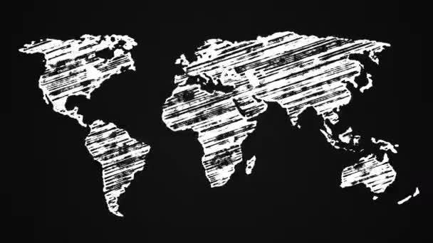 Mapa země namalovaná křídou, Kreslená animace 4k