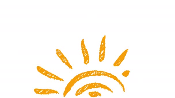 počasí ikona slunce namaloval křídou, ručně kreslenou animaci 4k