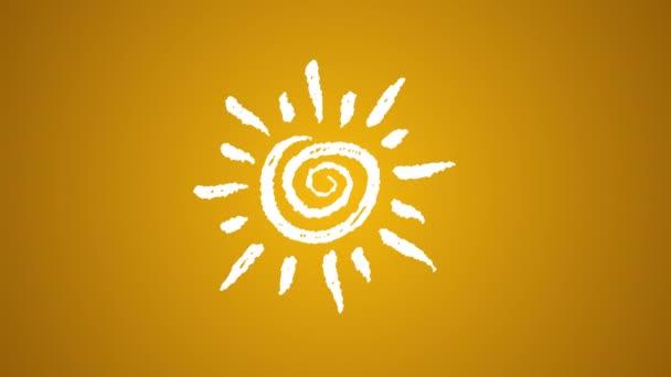 Wetter-Ikone Sonne mit Kreide bemalt, handgezeichnete Animation 4k