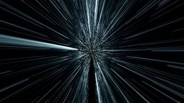 silhouette of a human in hyperspace jump