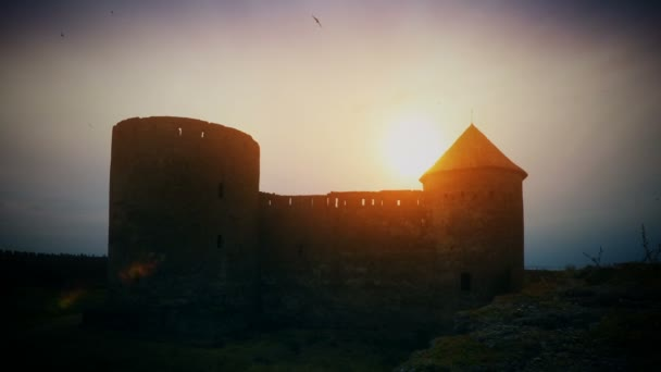 Sunset over old castle