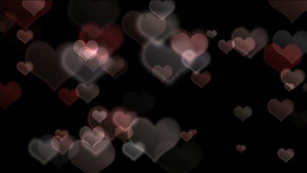 Glowing bokeh hearts