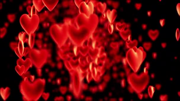 Pohyb srdce s hloubkou ostrosti na černém pozadí