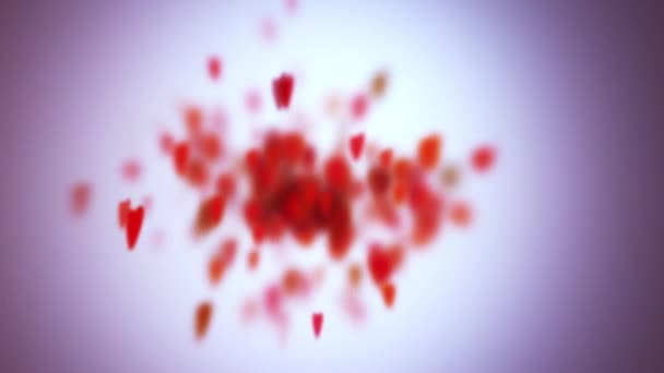 Zpomalený pohyb srdce s hloubkou ostrosti, den svatého Valentýna pozadí. 4k