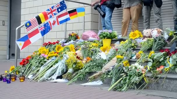 Flowers and toys memorable memorial set up near Embassy of the Netherlands devoted to the Malaysia Airlines B-777 (MH17) crash in Donetsk Region in July 2014.