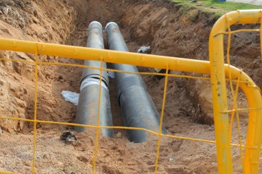 Pipes for water in trench