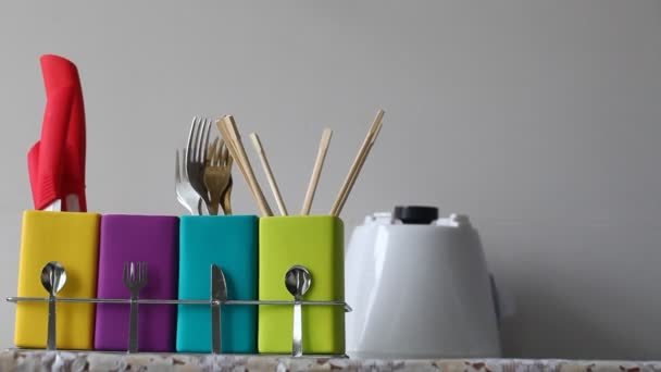 Stand with colorful dishes