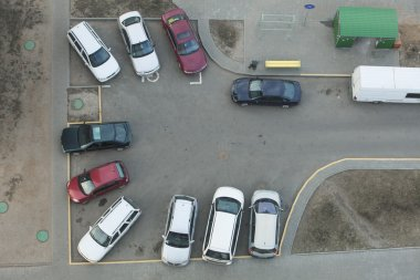 Parking in courtyard of multistory building