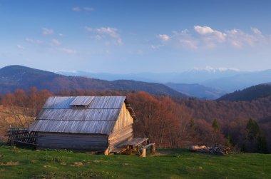 Spring landscape. Old wooden house in mountains. Sunny evening. Village of shepherds. Carpathians, Ukraine, Europe stock vector