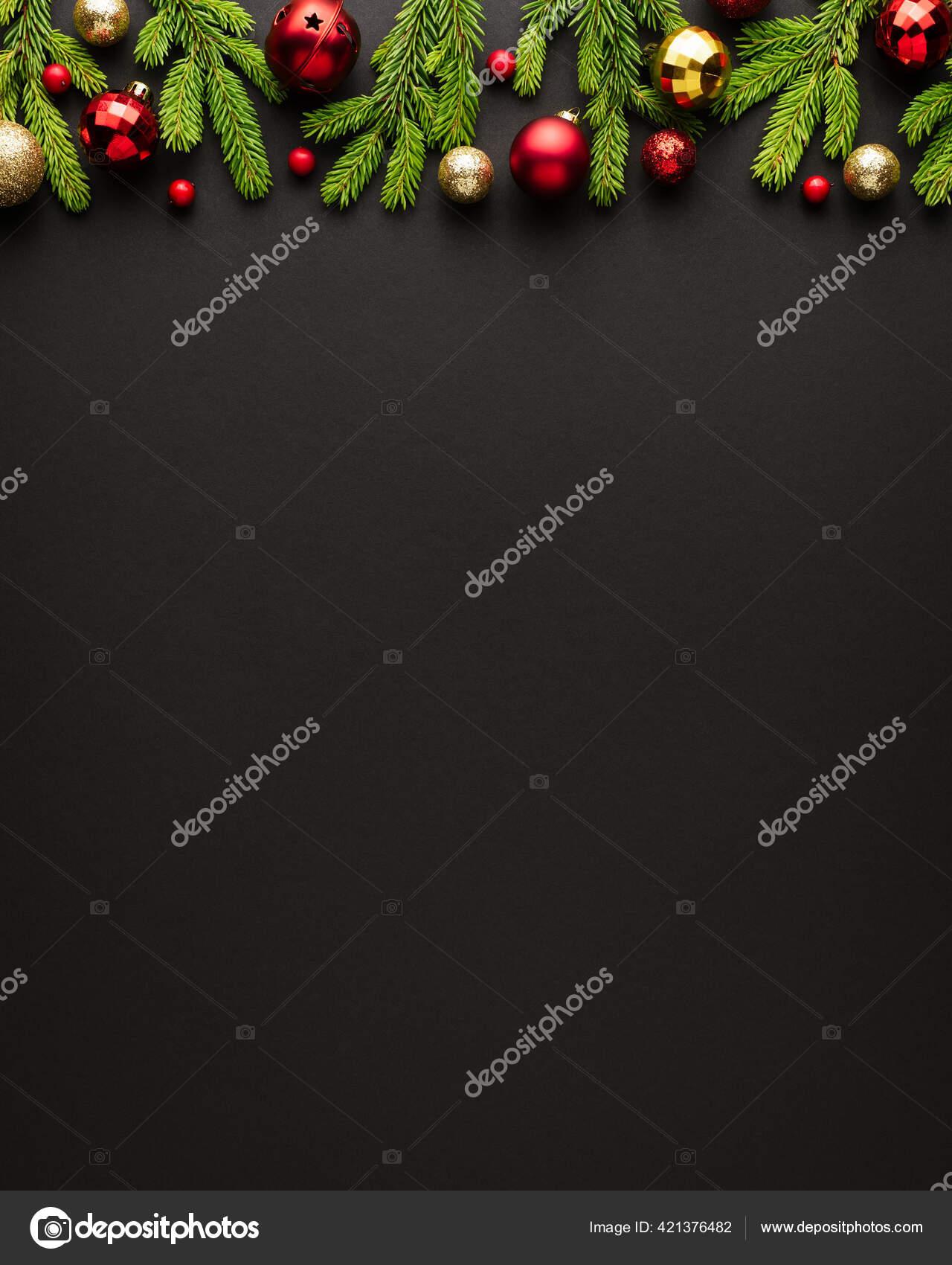 Black Christmas Background Christmas Tree Ornaments Top View Copy Space Stock Photo C Kotenko 421376482