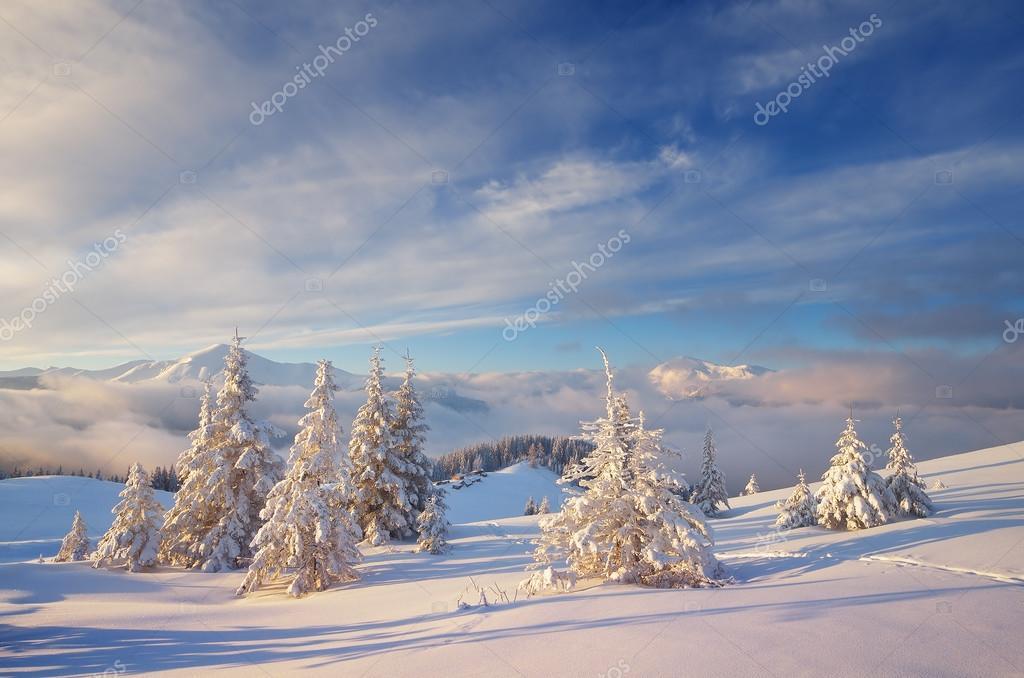 Weihnachten-Landschaft in den Bergen — Stockfoto © Kotenko #58786797