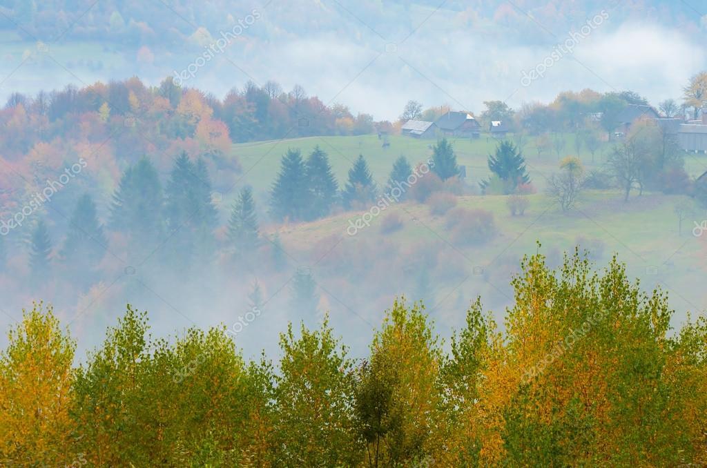 Фотообои Fog in the mountain village