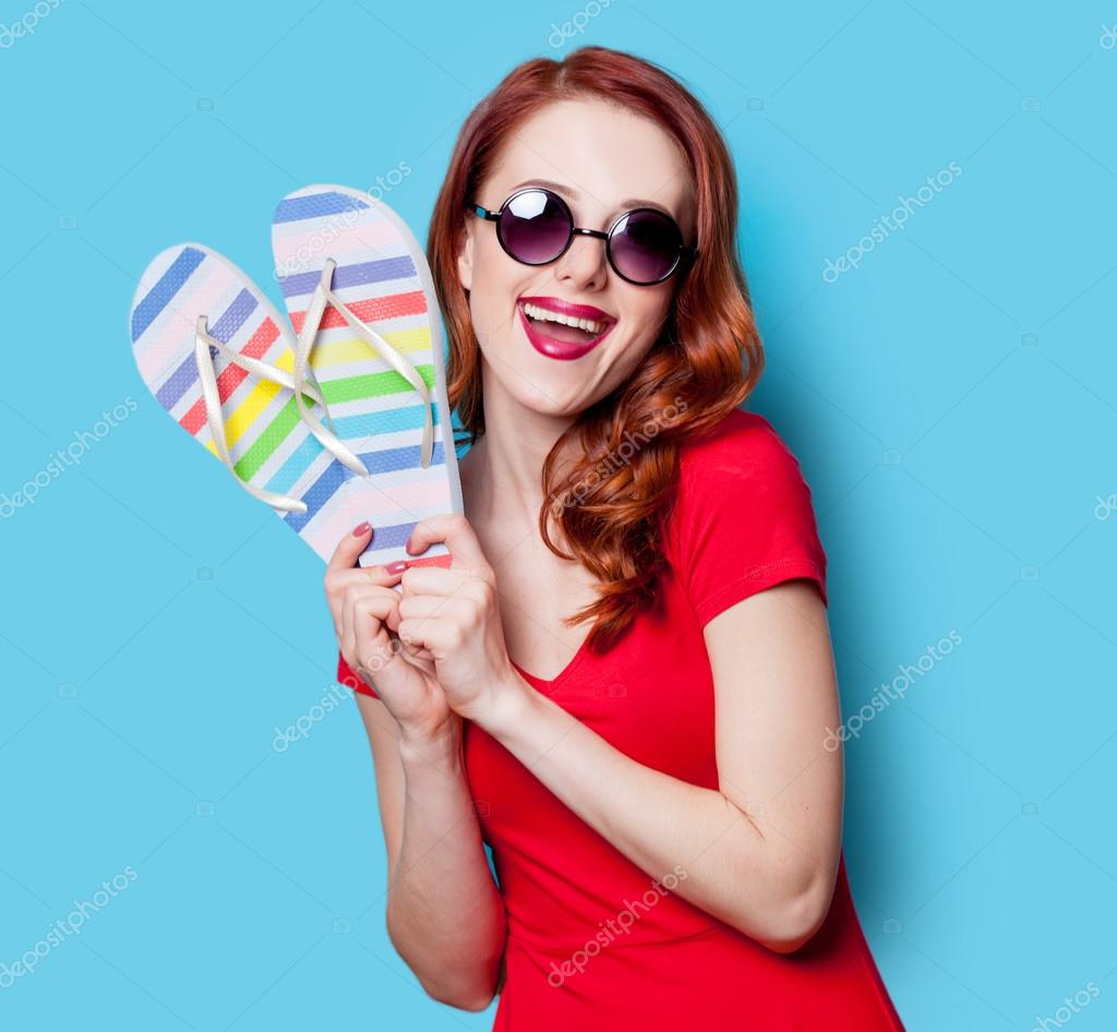 6ef63e3024bb girl in red dress with flip flops — Stock Photo © massonforstock ...