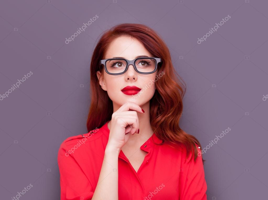 Talk, redhead girl with glasses yet