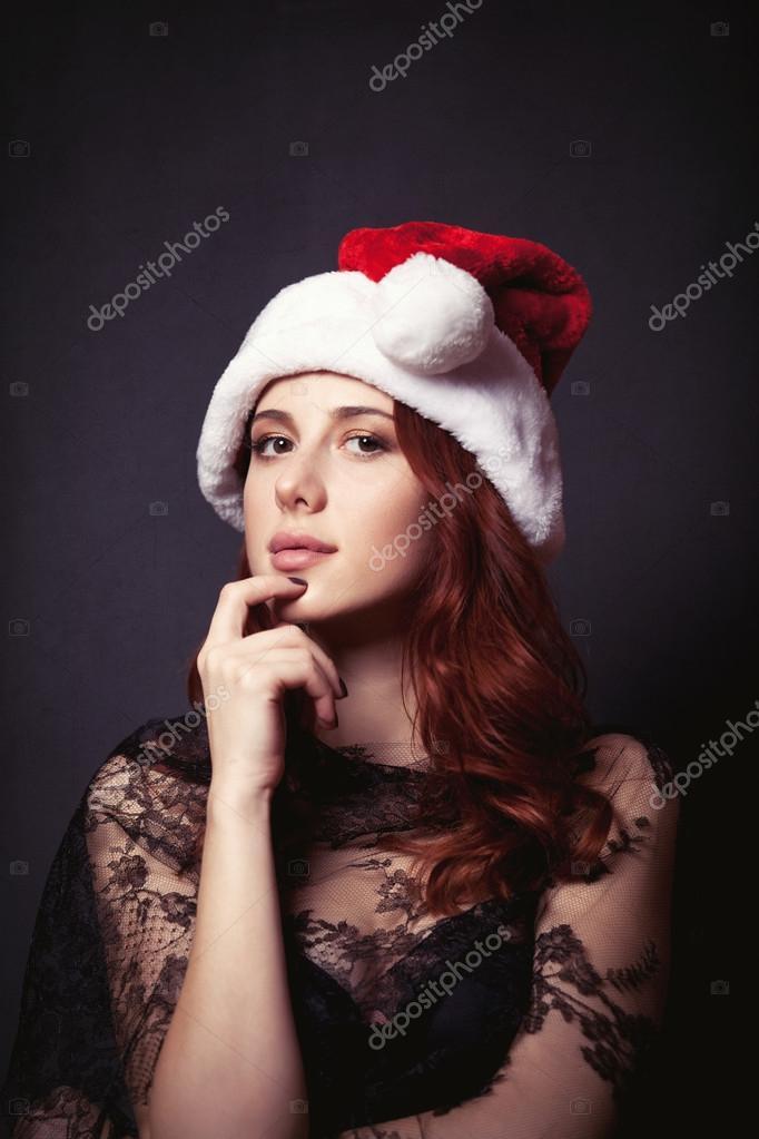 Donna Con Di Cappello Babbo Natale rrFdwq
