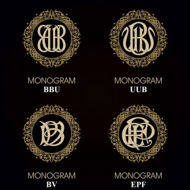 Vintage Monograms - 4 sets