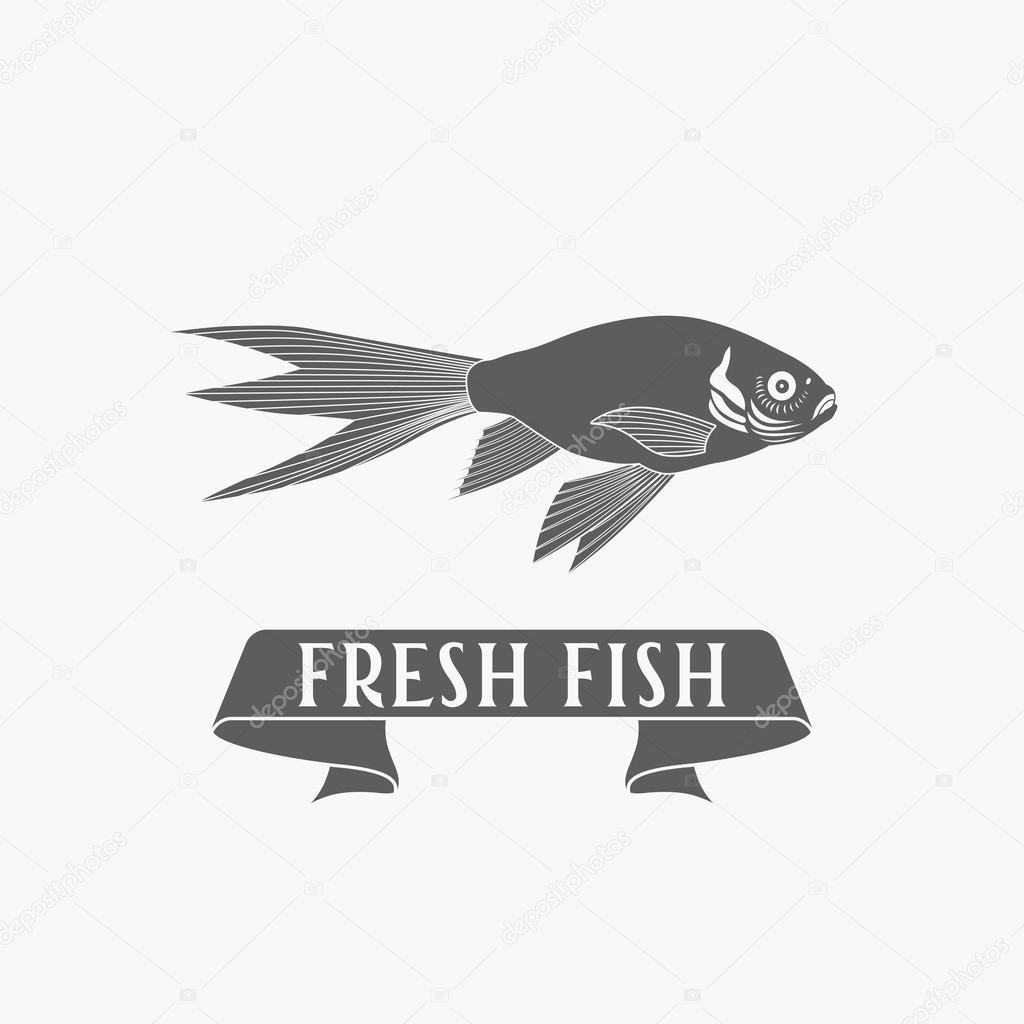 Fish - Vektor. Logo, Logo oder Label-Design-Vorlage — Stockvektor ...