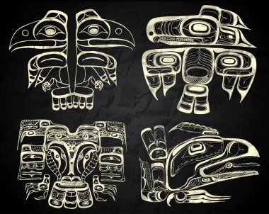 North America and Canada native art in black and white