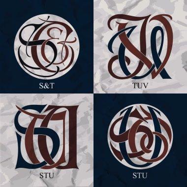 Vintage Monograms - 4 sets - S&T, TUV, STU