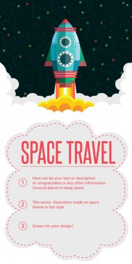 Space travel. Vector illustration in style flat