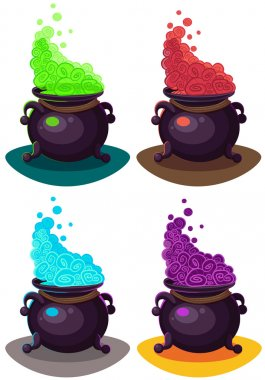 Witches cauldron for Halloween cards. Vector clip art illustrati