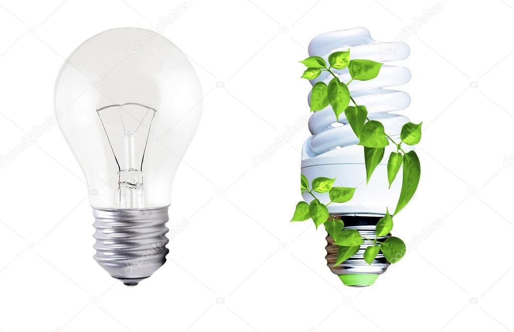 Lampada ad incandescenza e lampade fluorescenti con fogliame verde
