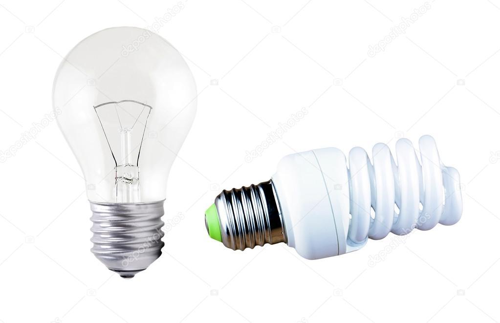 Lampada ad incandescenza e lampade fluorescenti u foto stock