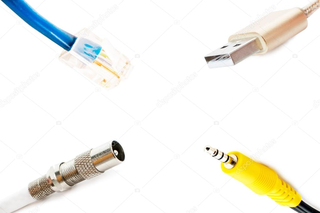 Different types of adapters on a white background — Stock Photo ...