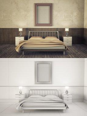 Interior frame mock-up - BEDROOM