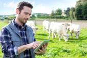 Fotografia Giovane agricoltore attraente facendo uso della compressa in un campo