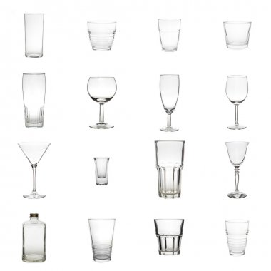 Collection of Glasses isolated on a white background