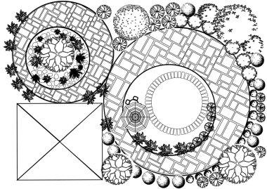 Vector Landscape Plan with treetop symbols