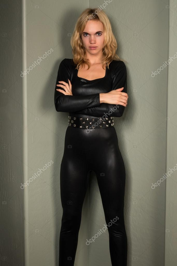 Blonde latex catsuit