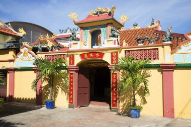 At the entrance of the ancient pagoda, the whale Temple. Phan Thiet, Vietnam