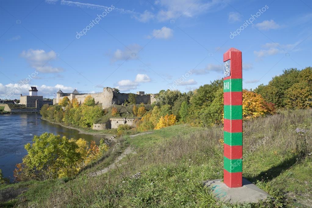 Russian border post on the banks of the river Narova september day. Ivangorod