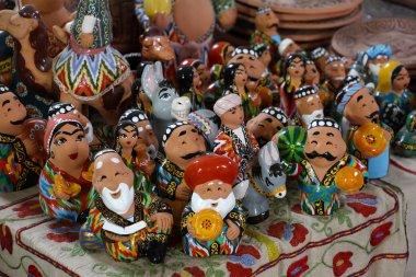 the showcase  with Uzbek Souvenirs