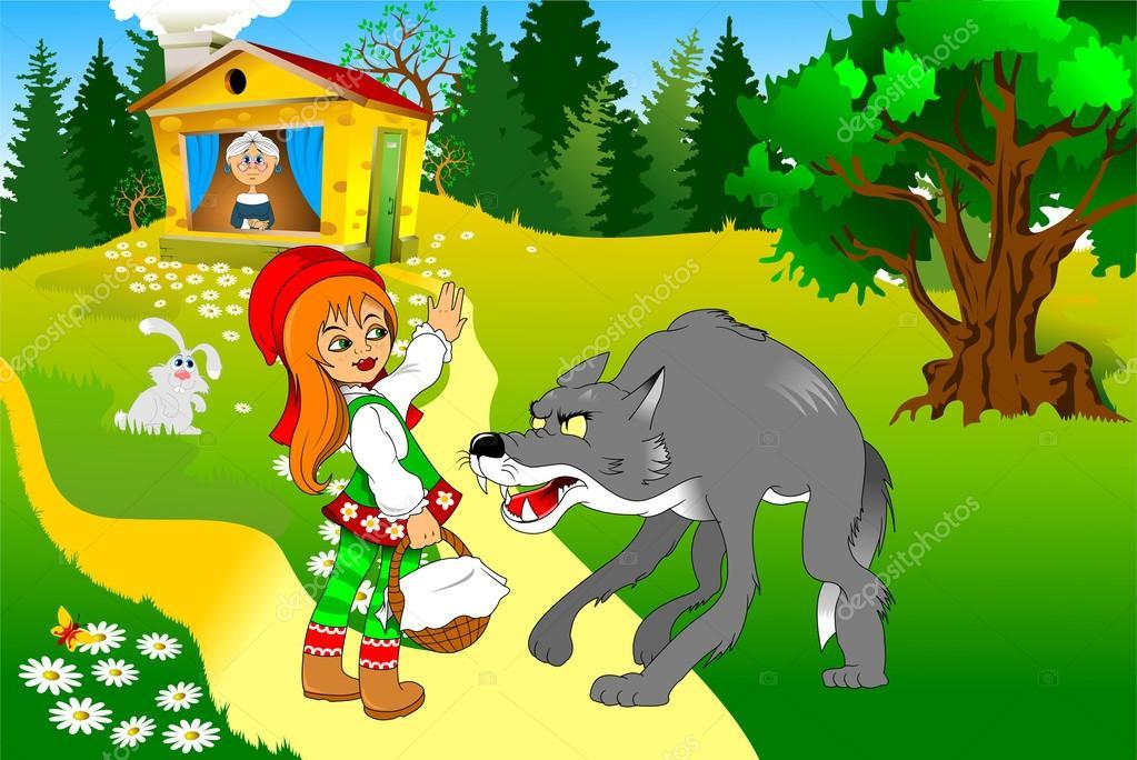 Lobo y Caperucita Roja — Archivo Imágenes Vectoriales © sababa66 ...