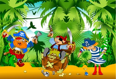 Funny pirates with treasure