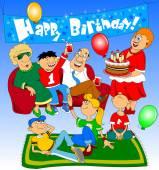 Kreslený lidé slaví narozeniny