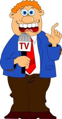 journalist in a blue suit