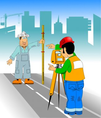 surveyor measures the road with a theodolite