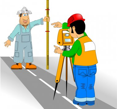 Engineer surveyor and assistant