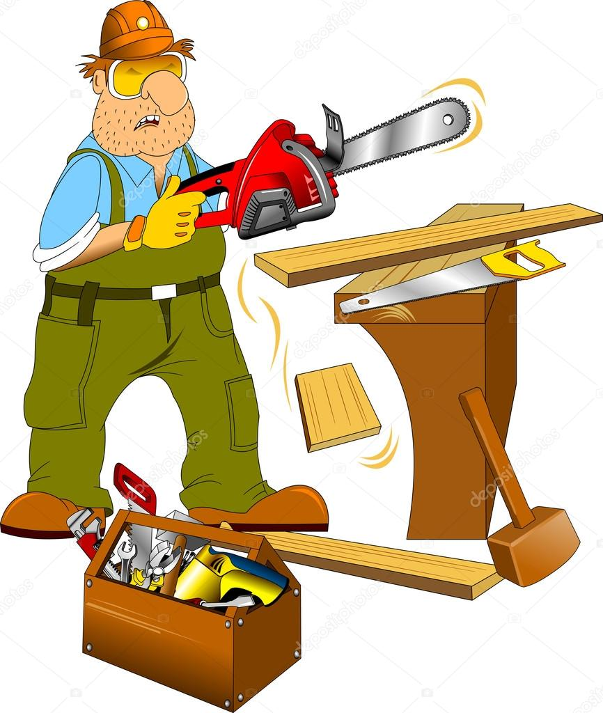 Working in a green jumpsuit with an electric saw