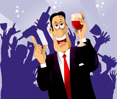 bachelor party, man with a glass of wine